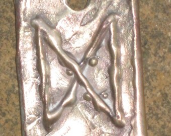 RUNES.Elder Futhark Bronze Rune Pendant of  Growth and Will DAGAZ.Rune Pendant.Organic Texture.Magical Rune.Magical Amulet.Viking Runes