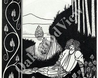 Sir Palomides Sorrow Print #1 by Aubrey Beardsley, King Arthur, Vintage Art Nouveau Unframed 8x11 2-Sided BW Bookplate Art, FREE SHIPPING