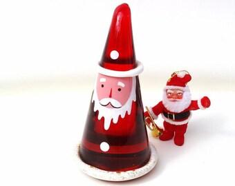 Vintage Glass Santa, Italian Glass Wizard, Art Glass Paperweight, Santa Figurine - E&R Italy