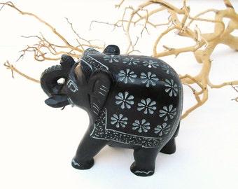Vintage Elephant Figurine | Soapstone Carving | Stone Sculpture | Elephant Statue | Paperweight