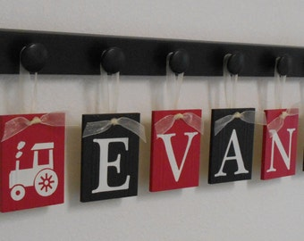 Tractor Baby Nursery Decor, Red / Black Farm Wall Artwork, Pegs and Hanging Ribbon Letters Personalized Name Art, Baby Shower Gift