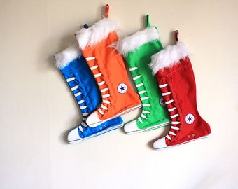 Christmas Stockings set of 4- Family Christmas Stockings, Green, Blue, Orange and Red