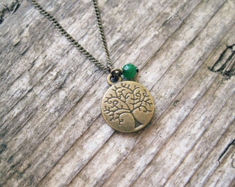 Tree of Life Necklace // Emerald Green Jade, Charm Necklace, Tree of Life Jewelry, Dainty Jewelry, Earthy Necklace, Yoga Jewelry