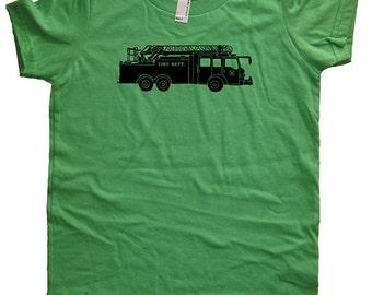 Fire Truck Shirt - Kids Shirt - Firefighter Engine Big Truck Boys shirt / Girls Shirt - Colors - Sizes 2T, 4T, 6, 8, 10, 12 - Gift Friendly