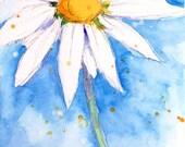 "Language of Flowers Original ACEO Daisy ""Innocence"" watercolor 2.5"" X 3.5"""