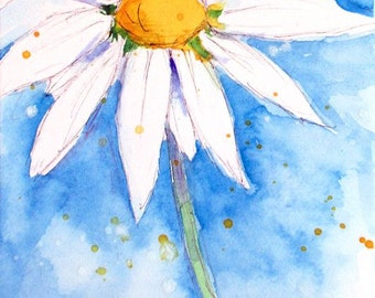 "Language of Flowers Original ACEO Daisy ""Innocence"" watercolor 2.5"" X 3.5"""