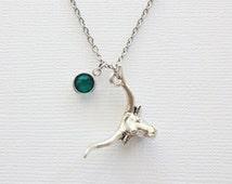 Bull Pewter Necklace Silver Pewter Charm Longhorn Horn Cattle Ranch Texas Cowboy Taurus Toro Animal Jewelry Swarovski Channel Birthstone