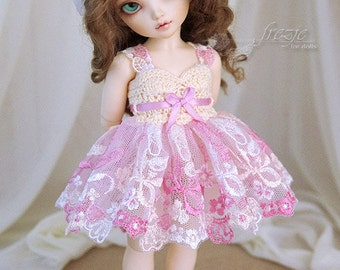 Pink & vanilla dress for TINY bjd LittleFee