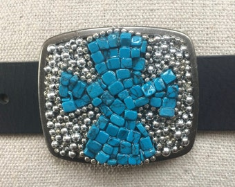 Turquoise and Silver Cross Western Belt Buckle