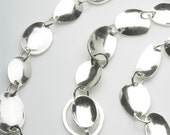 Handmade Chain Hammered Sterling Silver BRACELET with Easy Clasp - Fishing spinner lure inspired chain - convex concave oval chain