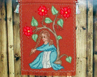 Fair Maiden Under A Tree Tapestry, Medieval Dollhouse Miniature 1/12 Scale, Hand Made