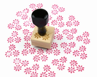 Rubber Stamp Daisy Pattern - Hand Drawn Flower Pattern Stamp - Ready to Ship