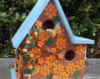 Roses & Daisies Birdhouse-Aqua, Orange, Bronze Bird House-Hand Crafted Clay Embellishments