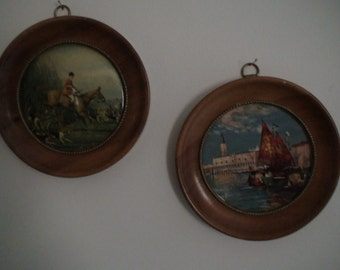 Early 20th Century Art, Wooden Round Framed Prints Equestrian and Sailboat