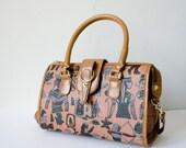 large crossbody leather purse / Egyptian novelty bag