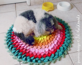 Rug Crochet Pattern PDF - Round Comfy Mat Photo tutorial - Instant DOWNLOAD