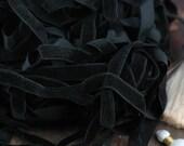 "Black Velvet Skinny Ribbon, Trim 7/16"" x 25 yards, Rich, Dark Autumn Craft, Decorating, Sewing, Decor, Supply, Bold, Rich, Decorating Ribbon"