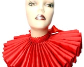 Ruffled Collar Red Satin Huge Tall Wide Elizabethan Neck Ruff Victorian Steampunk Gothic Edwardian