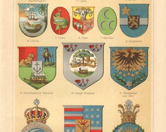 1898 Coat of Arms of Asian and African Countries - Japan, China, Korea, Congo, South Africa, Madagascar, Egypt, Persia Antique Lithograph