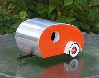 Tear Drop Trailer Birdhouse - Bright Orange, White trim, Orange wheels