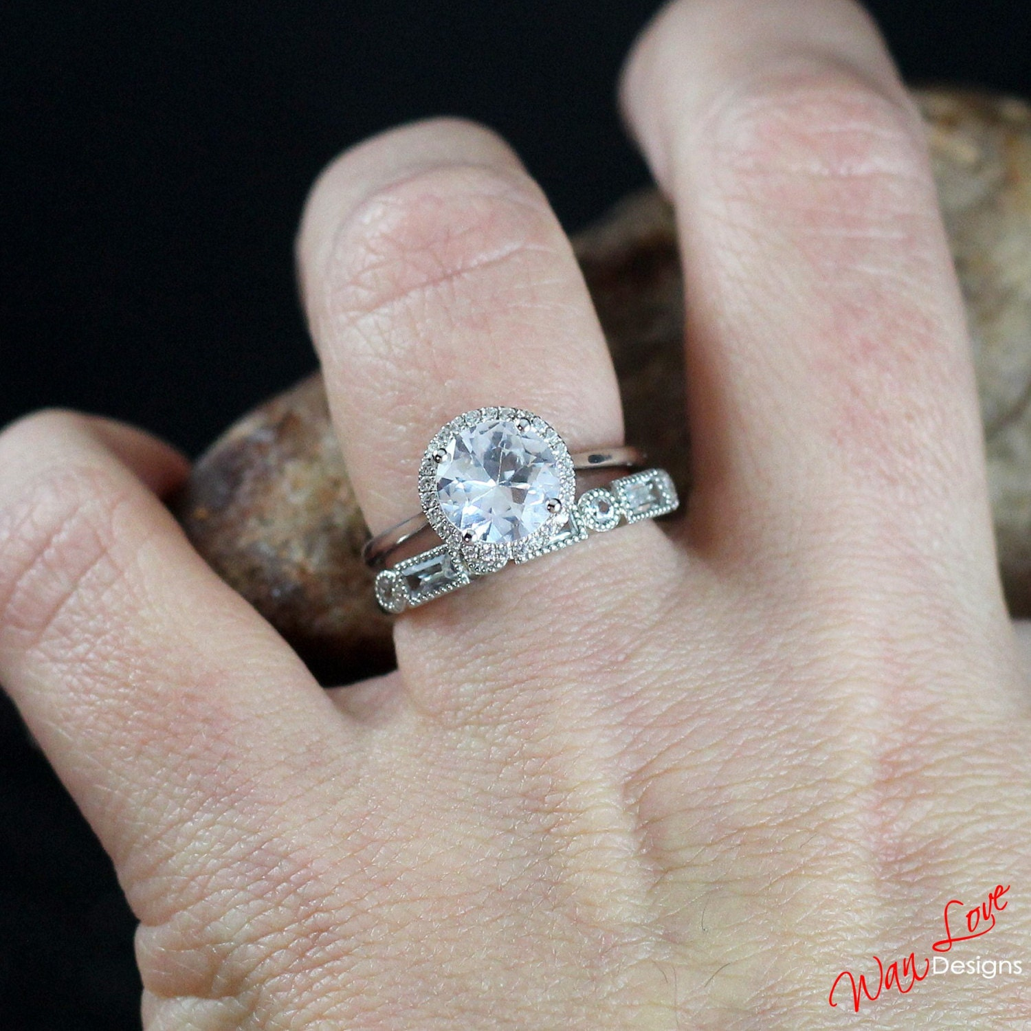 White Sapphire Halo Engagement Ring Set Round cut Baguette