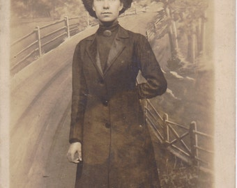 Road To Nowhere- 1900s Antique Photograph- Edwardian Woman- Gibson Girl Hair- Painted Backdrop- Real Photo Postcard- RPPC- Paper Ephemera