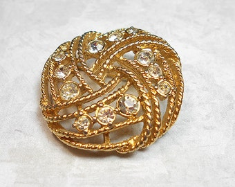 Vintage Brooch, Vintage Pin, Rhinestone Brooch, Rhinestone Pin, Round Brooch, Filigree Brooch, Gold Tone, Retro Womens, Braided Design, Knot