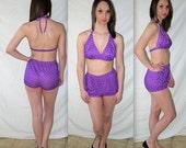Devon .... vintage 70s bikini / 2 pc swimsuit bathing suit  / halter triangle top / high rise waist waisted / boy shorts tap pant
