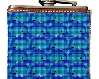 Preppy Whale Needlepoint Flask Canvas