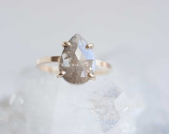 Grey Rose Cut Diamond | 14k Recycled Gold | Pear Shaped Diamond Ring | One of a Kind