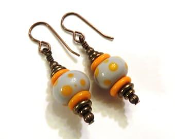 Gray & Orange Polka Dot Lampwork Earrings, Gray Earrings, Orange Lampwork Earrings, Brass Earrings, Gray Lampwork Earrings, Lampwork Jewelry