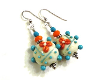 Orange & Turquoise Floral Lampwork Earrings, Turquoise Earrings, Orange Earrings, Lampwork Jewelry, Turquoise Lampwork Earrings