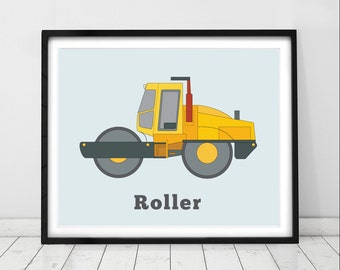 Nursery wall art, Construction Prints, Boys rooms, Kids wall art, Toddler decor, The Roller: Construction Vehicle prints by Little Grippers.