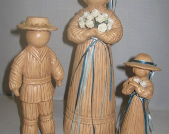 Ceramic Figurines Folk Art Lady Girl & Boy Holdings Flowers Qty 3 Clay Color