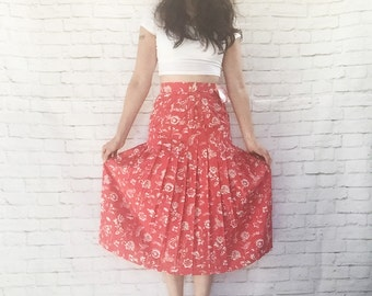 Vintage 80s Does 30s Halston Dropwaist Pleated High Waist Midi Skirt S NOS Red Pink Floral