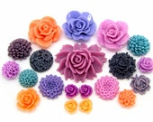 Resin Flower Cabochons : 20 piece Shades of Purple, Orchid, Tangerine & Teal -- Vibrant Color Trends for 2017 -- (203)