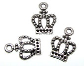Silver Charms : 10 Antique Silver Princess Crown Charms | Silver Crown Pendants 10x14mm ... Lead, Nickel & Cadmium Free  71131.J2M