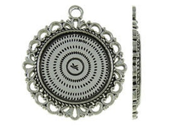Bezels | Cabochon Settings : 10 Antique Silver 20mm Round Pendant Setting / Cabochon Setting Holds 20mm Cabochon -- Lead & Nickel Free  H4C