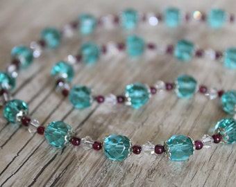 Aqua and Garnet Necklace and Earring Set / Jewelry Set / Gifts for Her / Gifts for Women / Blue Necklace / Sparkly Necklace / Garnet