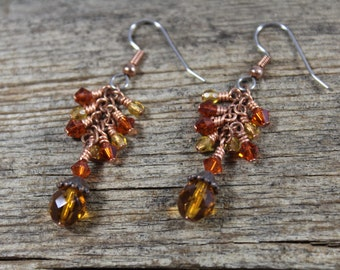 Copper Orange Honey Yellow Dangle Cascading Earrings / Swarovski Crystal, Czech Glass / Orange Earrings / Copper Earrings / Gifts for Her
