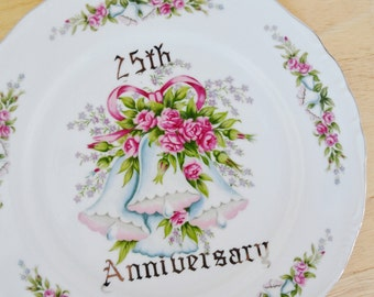 Vintage 25th Anniversary Plate with Flowers and Bells by Norcrest Fine China