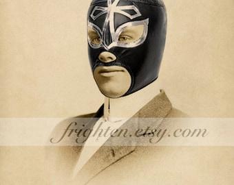 Lucha Libre Art, Luchador Art, Mixed Media Collage, Wrestling Mask Art, Mexican Wrestler, 8x10 Print, Gift for Men