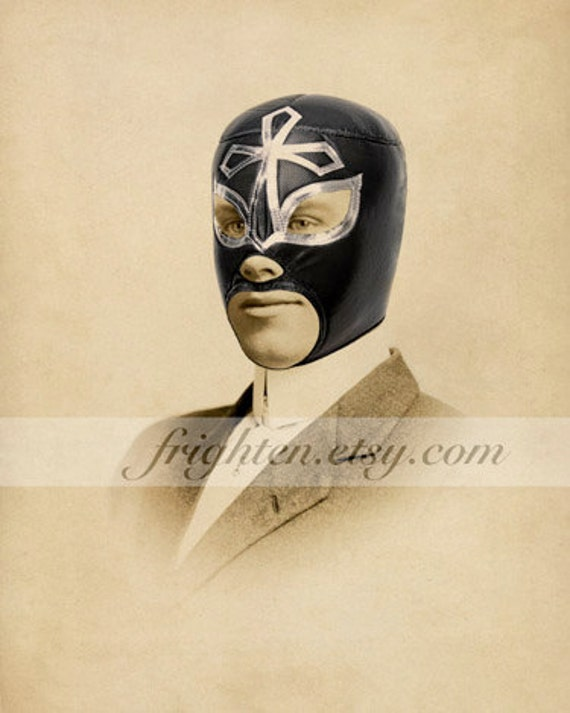 Lucha Libre Art Luchador 5x7 or 8x10 inch Mixed Media Collage Print