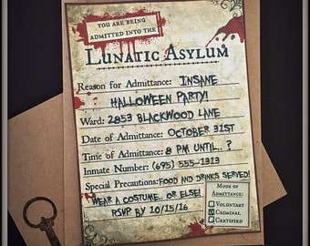 Asylum Invitations - Pre-Filled with Your Info - Set of 8 with Envelopes