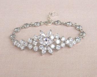 Crystal Bridal Bracelet, Wedding Jewelry, Swarovski crystal pearls, Vintage delicate, Harper Bridal Bracelet
