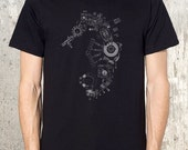 Men's Screen Printed T-Shirt - Seahorse Made From Circuit Boards - Men's Graphic T-Shirt - American Apparel - All Sizes Available