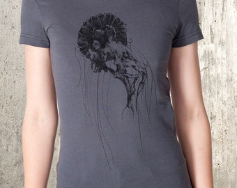 Women's Hand Drawn Jellyfish T-Shirt - American Apparel Women's T-Shirt - Women's Small Through 2XL Available