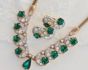 AUTHENTIC BoGOFF Rhinestone Choker Necklace & Earrings,Gold Emerald Green Crystal Lavaliere,Bridal,Weddings,Tennis Link Necklace,Demi Parure