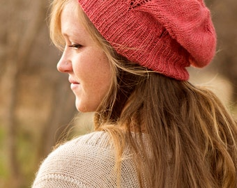 Slouchy Hat Knitting Pattern - Knit Slouch Hat Pattern - Woman's Slouchy Hat Knitting Pattern - Woman's Beret Hat Knitting Pattern