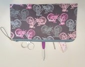 Pink and Gray Bicycles Padded Storage Pouch S78